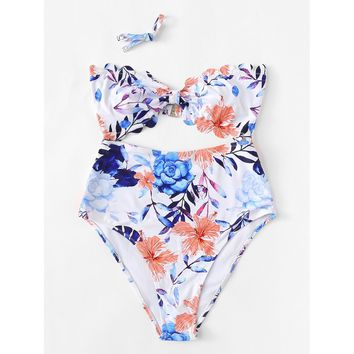 Scalloped Trim Floral Swimsuit