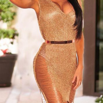 Rose Gold Bright Wire Irregular Cut Out Deep V-neck Destroyed Clubwear Party Midi Dress