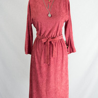 Vintage 70's Brick Red Terry Dress W/ Button Slit Side