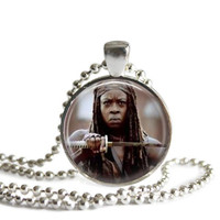 The Walking Dead Michonne Necklace Silver Plated Pendant Necklace