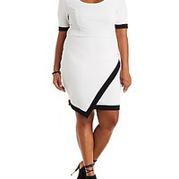 PLUS SIZE COLOR BLOCK ASYMMETRICAL BODYCON DRESS