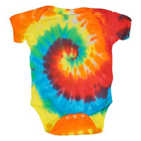 Rainbow Spiral Short Sleeve Baby One Piece