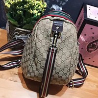 Gucci Women Leather Snake Pattern Shoulder Bag Daypack Backpack Floral Bag Grey