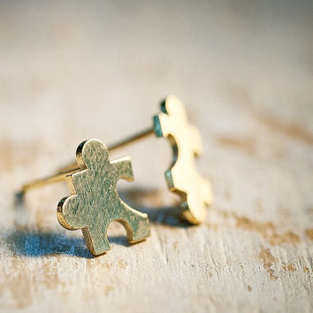 E0502GD // Puzzle Piece Earring  Gold // Everyday by queenspark