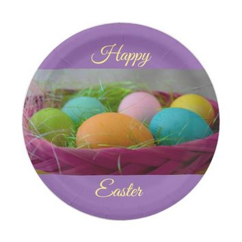 Colorful Easter Eggs Paper Plate