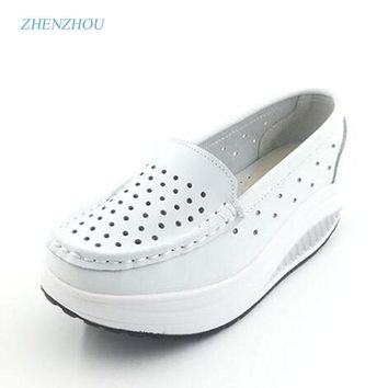 Summer genuine leather cutout breathable swing shoes white nurse shoes wedges heighten shoes mother shoes sandals