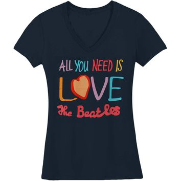 Beatles  All You Need Is Love V-Neck Junior Top Navy