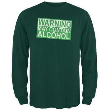 PEAPGQ9 St Patrick's Day Warning May Contain Alcohol Mens Long Sleeve T Shirt