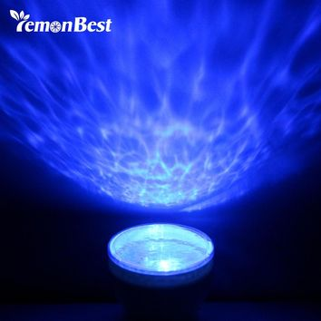 LemonBest USB Ocean LED Night Light Portable Ocean Sea Daren Waves Projector Relaxing Novelty Table Lamp For Baby Children