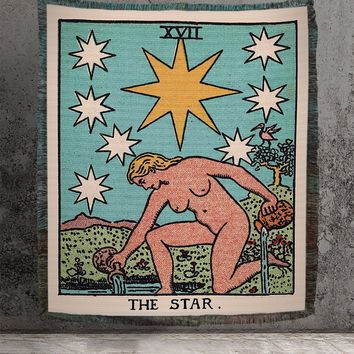 Large Woven Tapestry - The Star Tarot Card Tapestry - Rider Waite Deck - Cotton