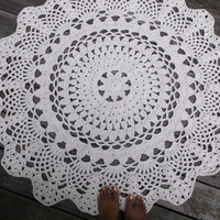 "Off White Cotton Crochet Doily Rug in 1.2m 120cm 47.24"" Circle Lacy Pattern"