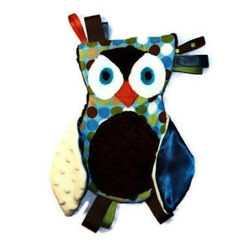 Baby Toy - Sensory Blanket - Custom Order - Owl Lovie - Animal Lovie - Owl Blankie - Owl Toy - Baby Gifts - Cuddly Toys