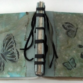 Crisp Spring Butterfly Journal, Stab Bound Rustic Handmade Journal, Diary, Notebook, Sketchbook, Guestbook with Raised Textured Design
