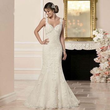 New V Neck Backless Elegant Mermaid Wedding Dresses Appliques Beading Sleeveless Sexy Wedding Gowns