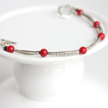 Red Metal Bracelet, Casual Red Jewelry, Etched Metal Bracelet, Metal Link Bracelet, Thin Bracelet, Silver Tone Bracelet, Crafted Locally