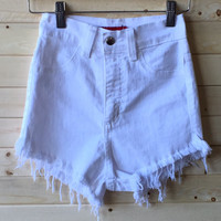 A High Waisted Jean Short in White