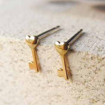 Heart Key Stud Earrings - Sterling Silver Posts - Skeleton Key - Heart Key Jewelry - Tiny Earrings - Gold Brass (E220)