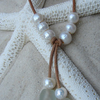 Pearl and Leather Necklace...FREE SHIPPING to US