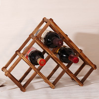 1PC Solid Wood Folding Wine Racks 6 wood wine holder Kitchen Bar Display Shelf