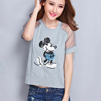 Cartoon Mickey Print Short Sleeve T-shirt with Mesh Accent