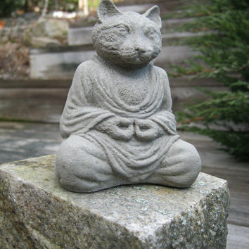 Cat Buddha, Meditating Cat Statue,