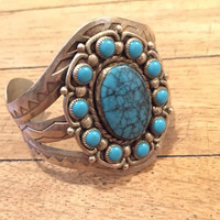 Navajo Nickel Silver and Turquoise Cuff Bracelet by Bell Trading Post | Native American Indian Boho | Turquoise Cuff | Turquoise Bracelet