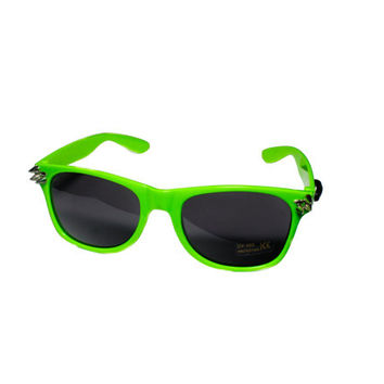 Spiked and moustached Toxic Green Wayfarer Sunglasses