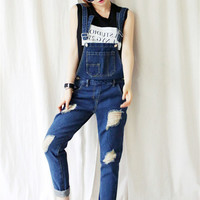 Ripped Denim Overalls