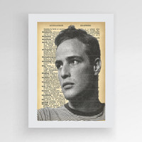 Instant download, Young Marlon Brando Portrait, Marlon Brando Dictionary Print, Marlon Brando, Brando Art Print, The Godfather Poster