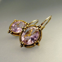 Vintage Etruscan Style Sterling Silver Amethyst Pierced Earrings