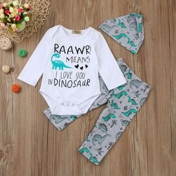 "3 Pc Baby Boy's "" Raawr! Means I Love You In Dinosaur"" Long Sleeve Onesuit with Dinosaur Print Pants and Hat"