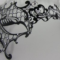 Phantom of the Opera Lady Masquerade Venetian Metal Laser Cut Mask Rhinestones