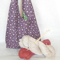 Purple 11 x 12 100% cotton Purse tote bag, great for knitting projects