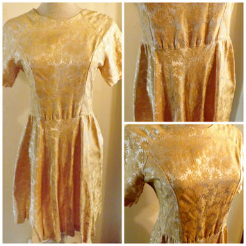 50's Gold Brocade Swing Dress or Pleated Party Dress Size 4