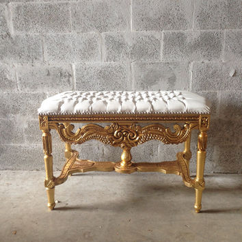 Amazing Tufted Gold Bench French Louis Xvi Coffee Table Gold Leaf Gild White Leather New Fabric Nail Heads Heavy Carvings Baroque Rococo Refinish Pdpeps Interior Chair Design Pdpepsorg