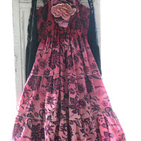Ombre dress, gypsy cowgirl glam sundress, Bohemian tunic, boho dresses, Hippie festy dresses, Country chic pink, true rebel clothing Med