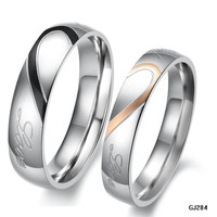 "1PCS Stylish Engraved Heart His OR Hers Titanium Steel Promise Ring ,""Real Love"" Couples Wedding Anniversary Bands BY EZMAX = 1930016836"