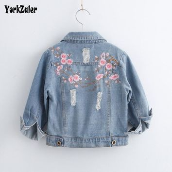 Trendy Yorkzaler Baby Girl Clothes Jacket Embroidery Floral Long Sleeve Denim Kids Outerwear Autumn Baby Jeans Hole Ripped Coats AT_94_13
