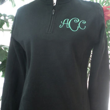 Monogram Sweatshirt Black Pullover 1/4 Zip Ladies Personalized Custom Embroidery Christmas Gift