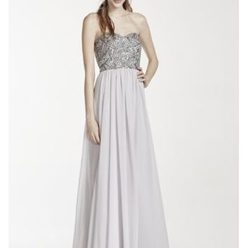 Strapless Geometric Beaded Prom Dress - Davids Bridal