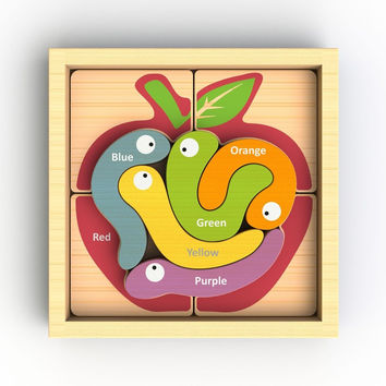 Apple & Worm Wooden Language Puzzle