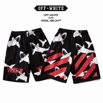 Off White New fashion shark letter print couple shorts Black
