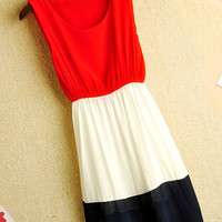 Color Blocked Elastic Waist Chiffon Dress