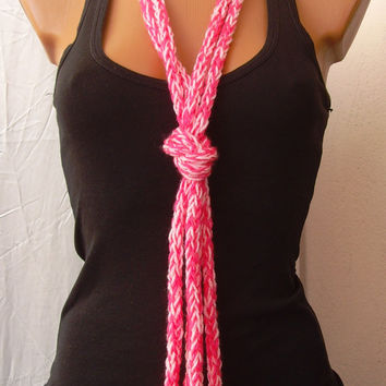 OOAK Crochet Light Hot Pink Light Pink Long Necklace Loop Scarf Ready To Ship