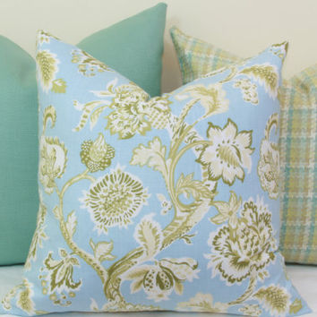 Green and blue floral decorative throw pillow cover. 18 x 18. 20 x 20. 22 x 22. 24 x 24. 26 x 26. lumbar sizes.