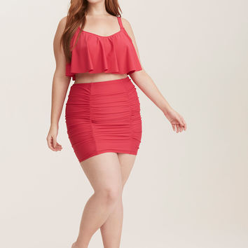 Ruched High Waist Skirt Swim Bottom - With Brief