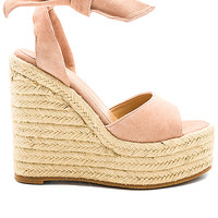 Tony Bianco Barca Wedge in Blush Kid Suede | REVOLVE
