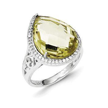 Sterling Silver Lemon Quartz/CZ Checkerboard-cut Pear with Halo Ring