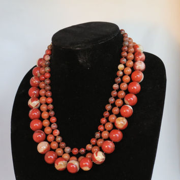 Three Strand Red Carnellian Choker Necklace