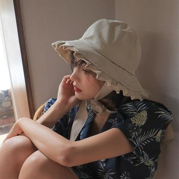Women Sweet Fashion Vintage Frenal Solid Color Girls Lace-up Retro Lady Ruffled Windproof Bucket Princess Hats Sun-proof Caps